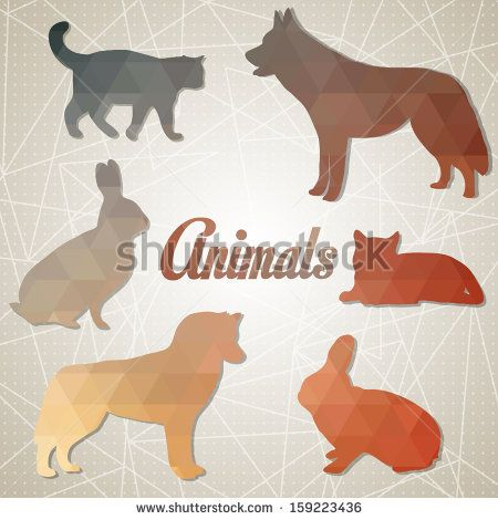 Set Of Colorful Lovely Animal Lovers Couples Silhouette. Cats ...