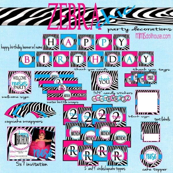 Zebra Party Decorations Averys Wild 1st Birthday Party Zebra