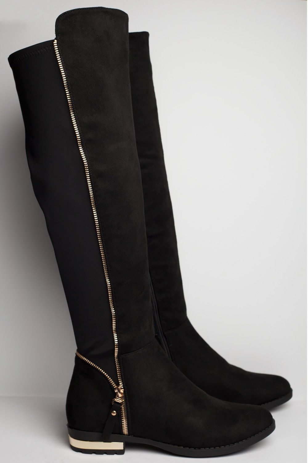 black suede knee high boots uk | High