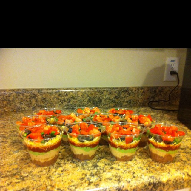 Mini seven layer dips - in cups. Awesome idea!!!