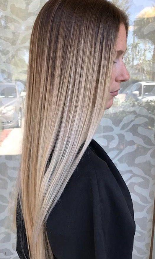 Seamless Ombre Hair Blonde Balayage Straight Hair Balayage Hair