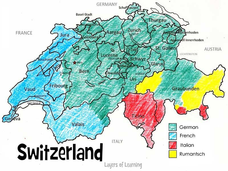 Switzerland Printable Map And Country Study Printable Maps Free