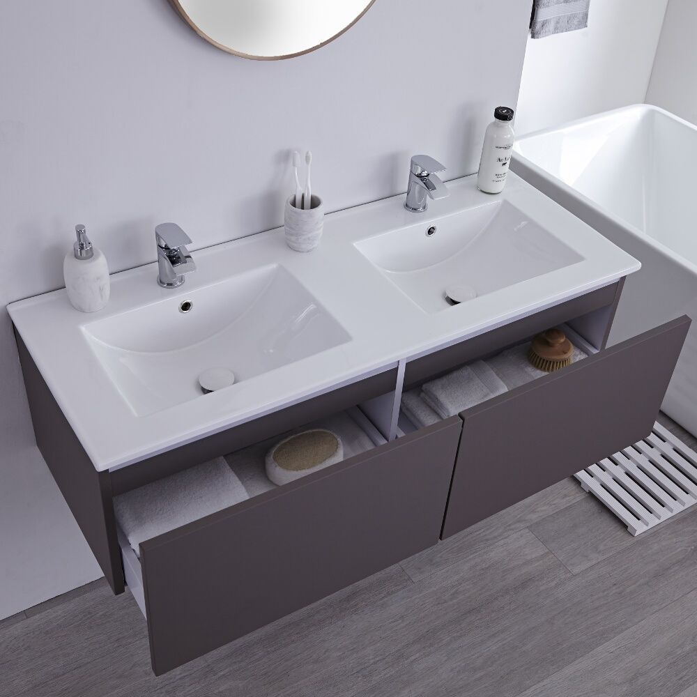 Milano Oxley Grey 1200mm Wall Hung Vanity Unit With Double Basins Vanity Units Modern Bathroom Vanity Wall Hung Vanity