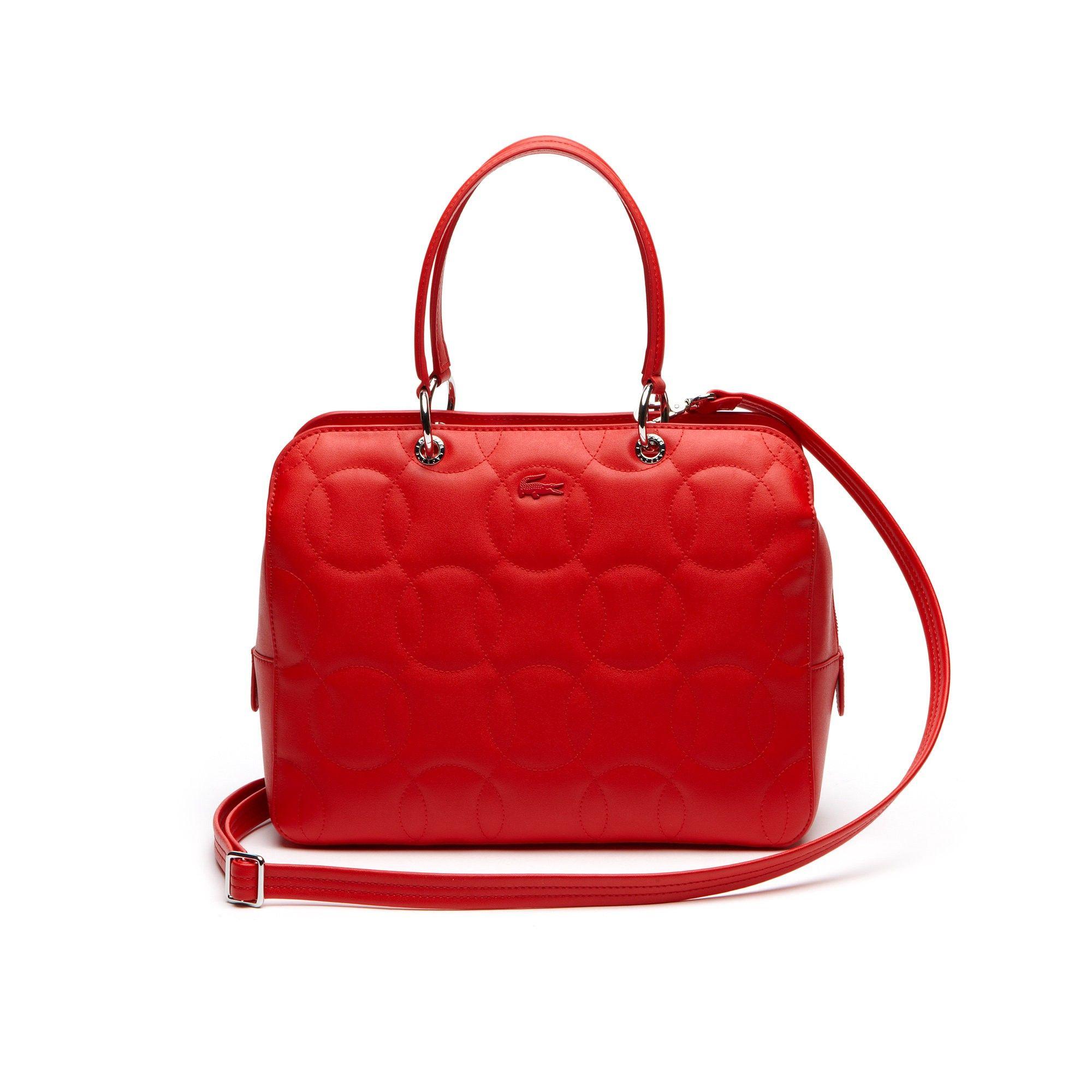 b6ab153d9 LACOSTE Women s Off The Court Unicolor Zip Boston Bag - high risk red.   lacoste