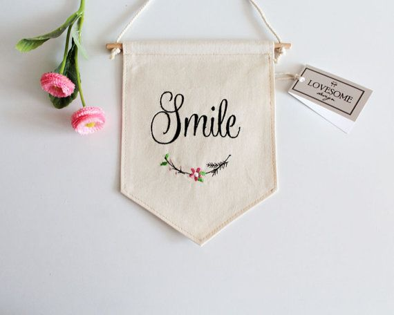 Custom Embroidered Wall Hanging Wall Decoration Wall Hanging Custom Wall Banner Fabric Banner Smile Embroidery Wall Art Hanging Wall Decor Fabric Banner