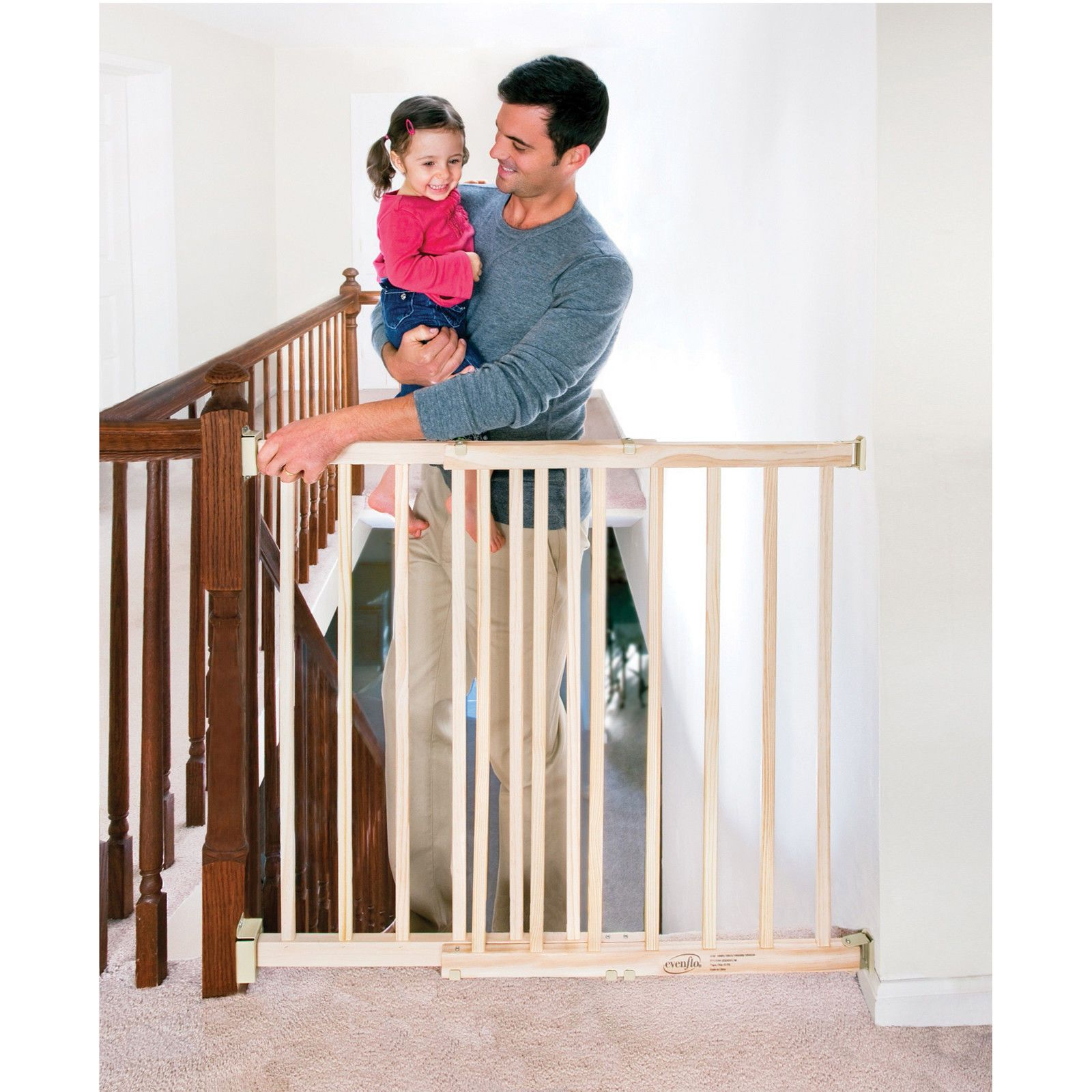 Top of Stair Baby child Infant safety Gate Wood Xtra Tall