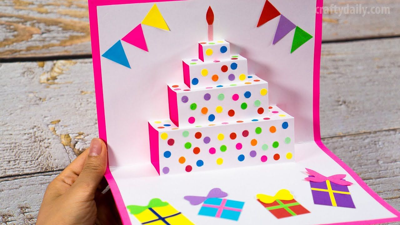 Diy Birthday Cake Pop Up Card Easy Pop Up Card Tutorials Craft For Kids In 2020 Birthday Card Craft Easy Birthday Cards Diy Birthday Cards Diy