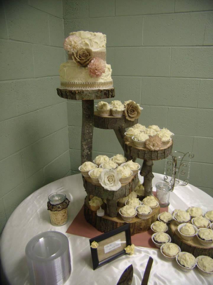 Burlap Wedding Cake On Wood Stand Cake Stuff