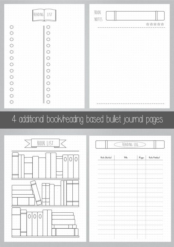 photograph regarding Bullet Journal Pages Printable known as Bullet Magazine - Bookshelf - Textbooks - Studying - Printable