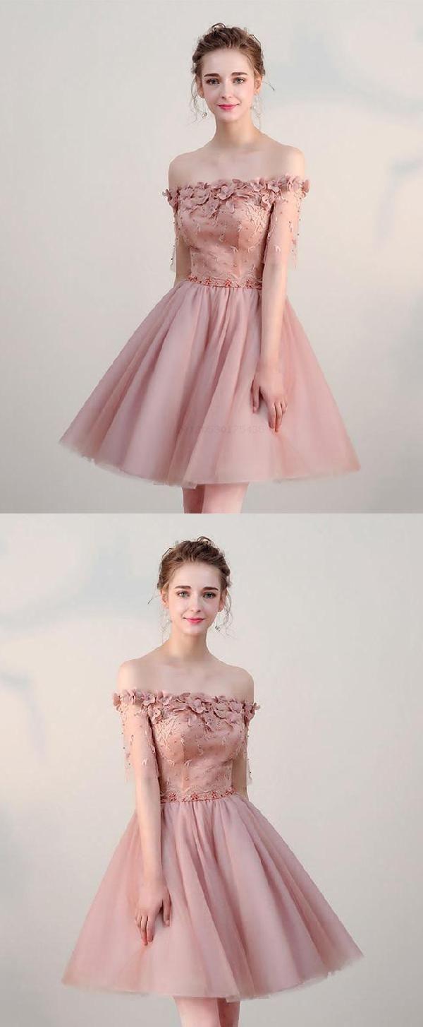 Pink prom dresses short prom dresses prom dresses lace luu