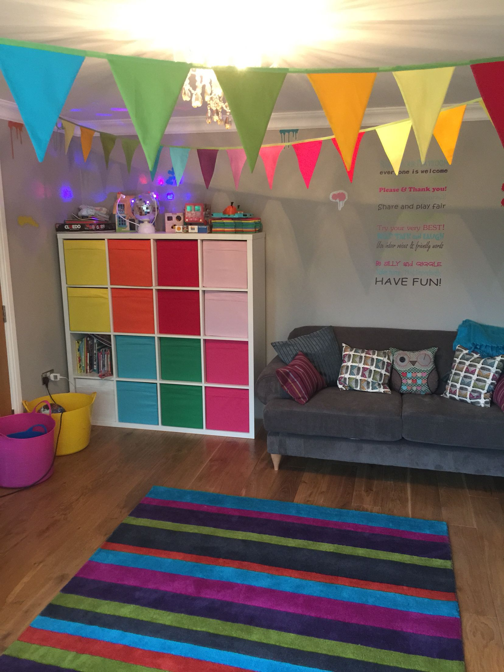 Rainbow Kids Rooms Rainbow Playroom With Bunting Cushion Covers And Beanbags