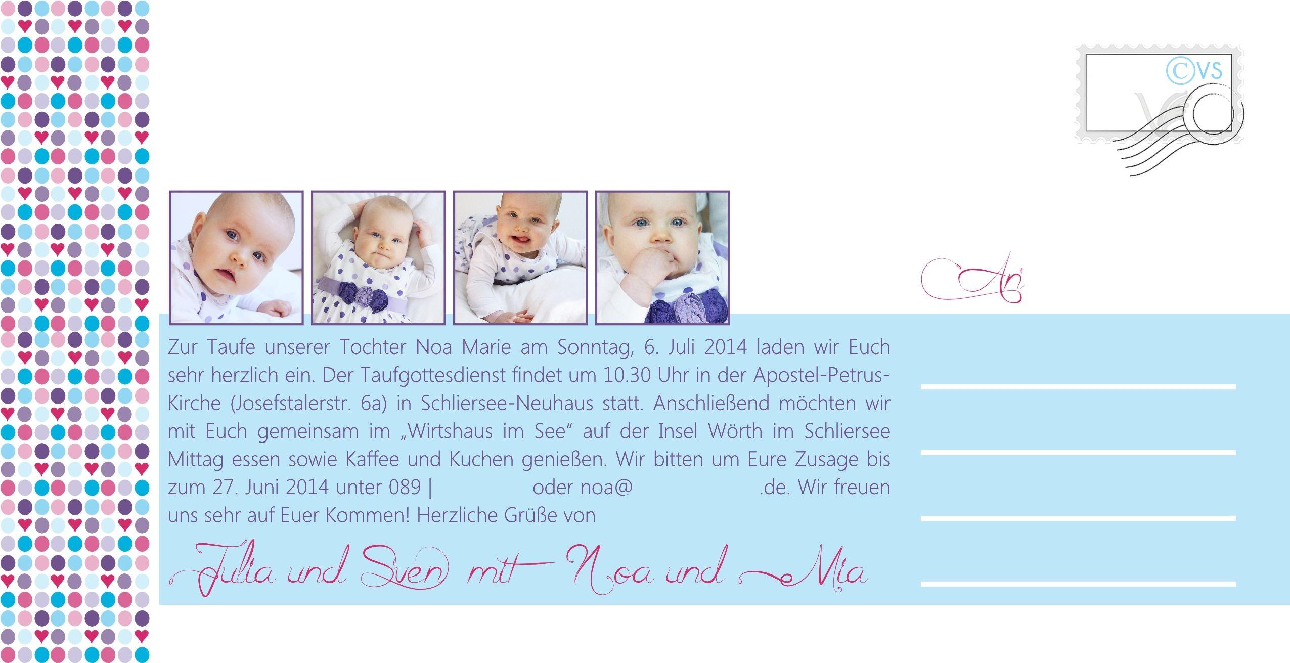 Noau0027s Taufe | Einladungskarte Seite 2
