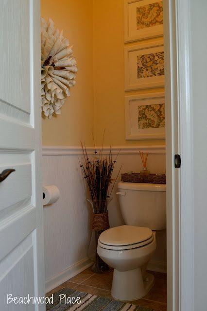 Half Bath On A Budget Love Color Chair Rail Photos Ontop Of Each Other Above Toilet And The Cool Handmade Wreath