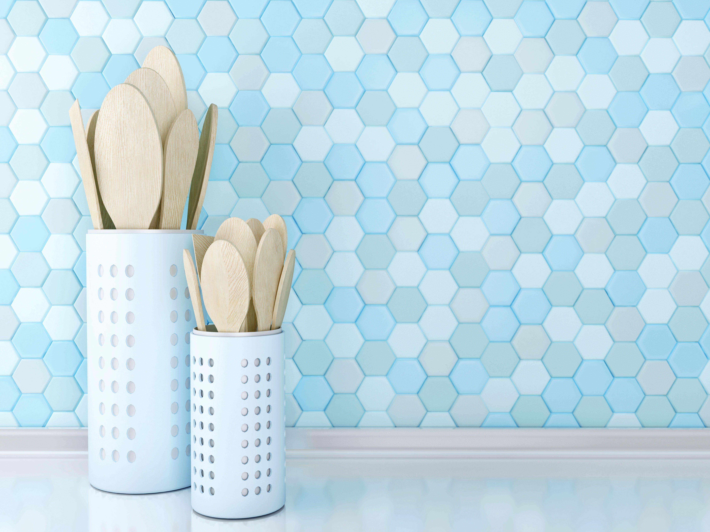 Honeycomb Blue Design Backsplash!   Kitchen Backsplash Inspiration ...