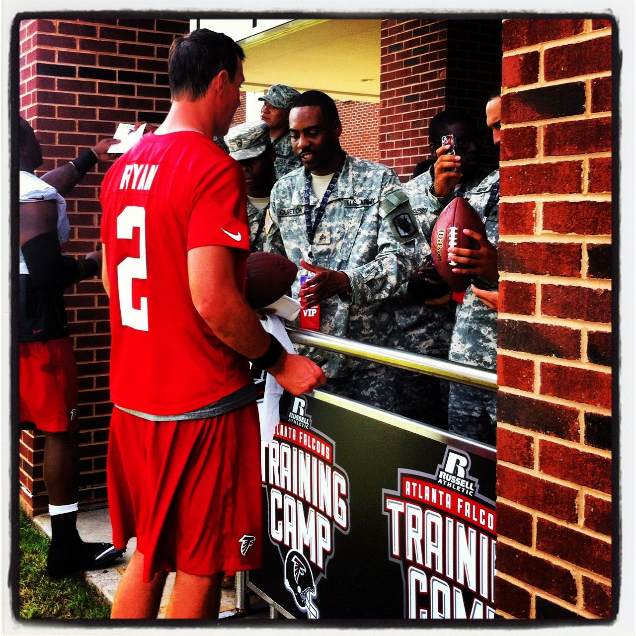 Matt Ryan Signs Autographs For Our Military Visitors At Training Camp Riseup Nfl Football Training Camp Football