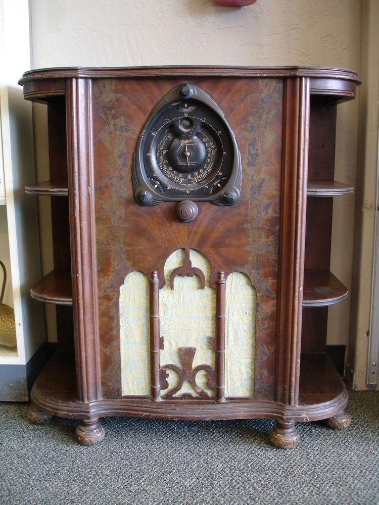 Vintage Zenith 7s261 Console Radio As Is Parts Repair Vintage Radio Retro Radios Antique Radio