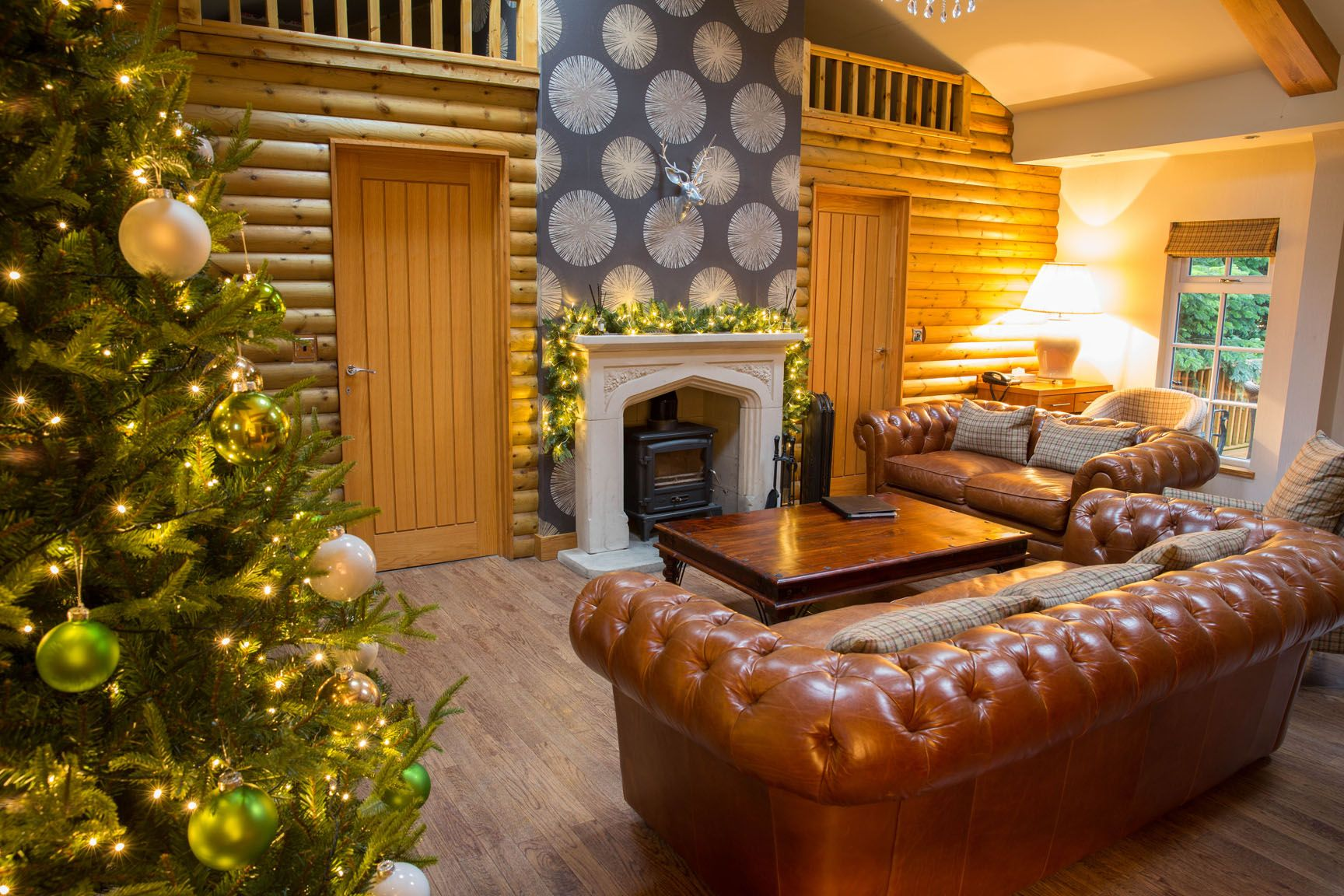 The Grand Fir Log cabin at Christmas