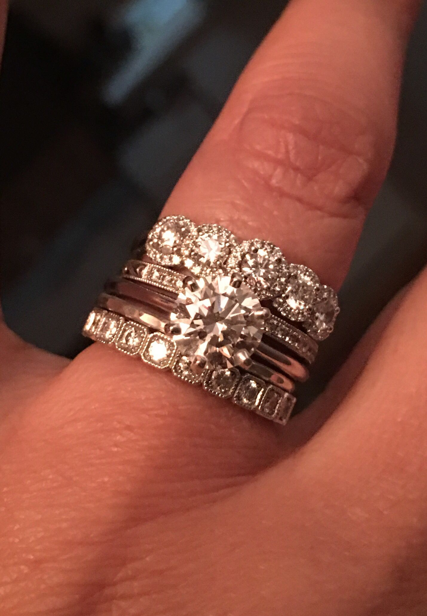 stacked stackable engagement ring exeter band sam&sue