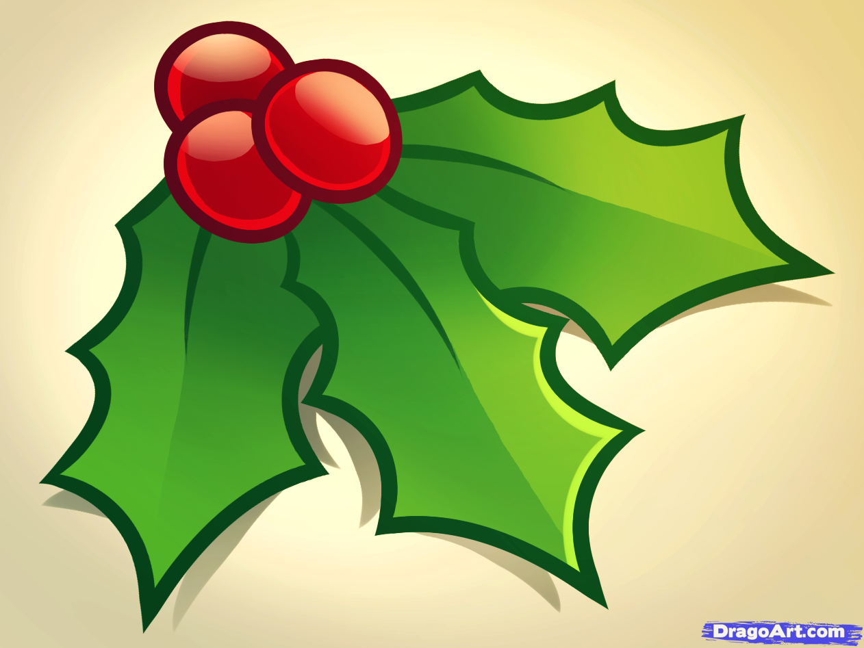 how to draw christmas holly Christmas decorations