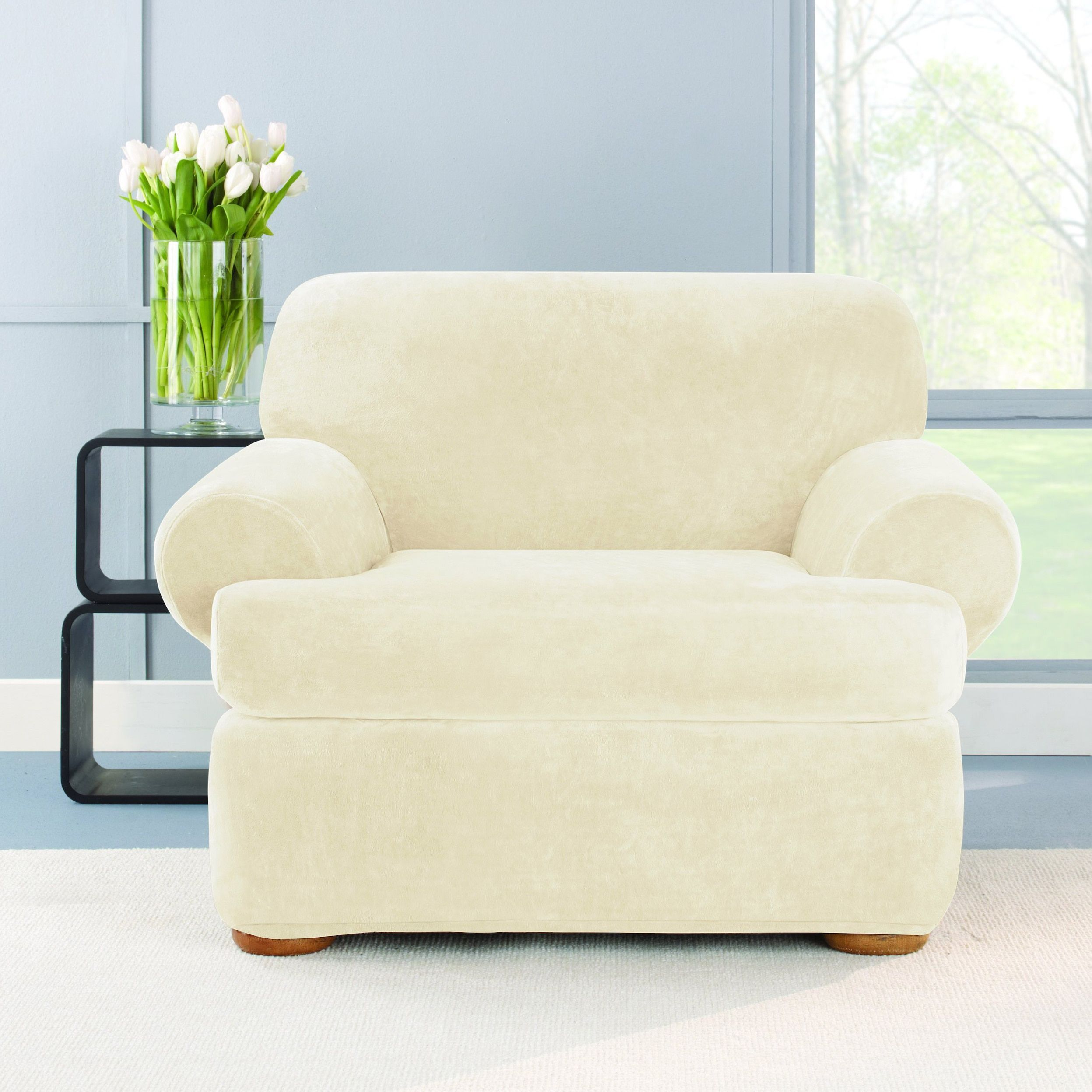 White Chair Slipcover T Cushion Upholstered Slipper Sure Fit Stretch Plush Cream Beige Off Solid