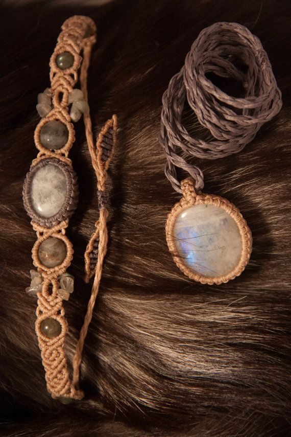 Jewelry set with a natural moonstone by ElfosShop on Etsy