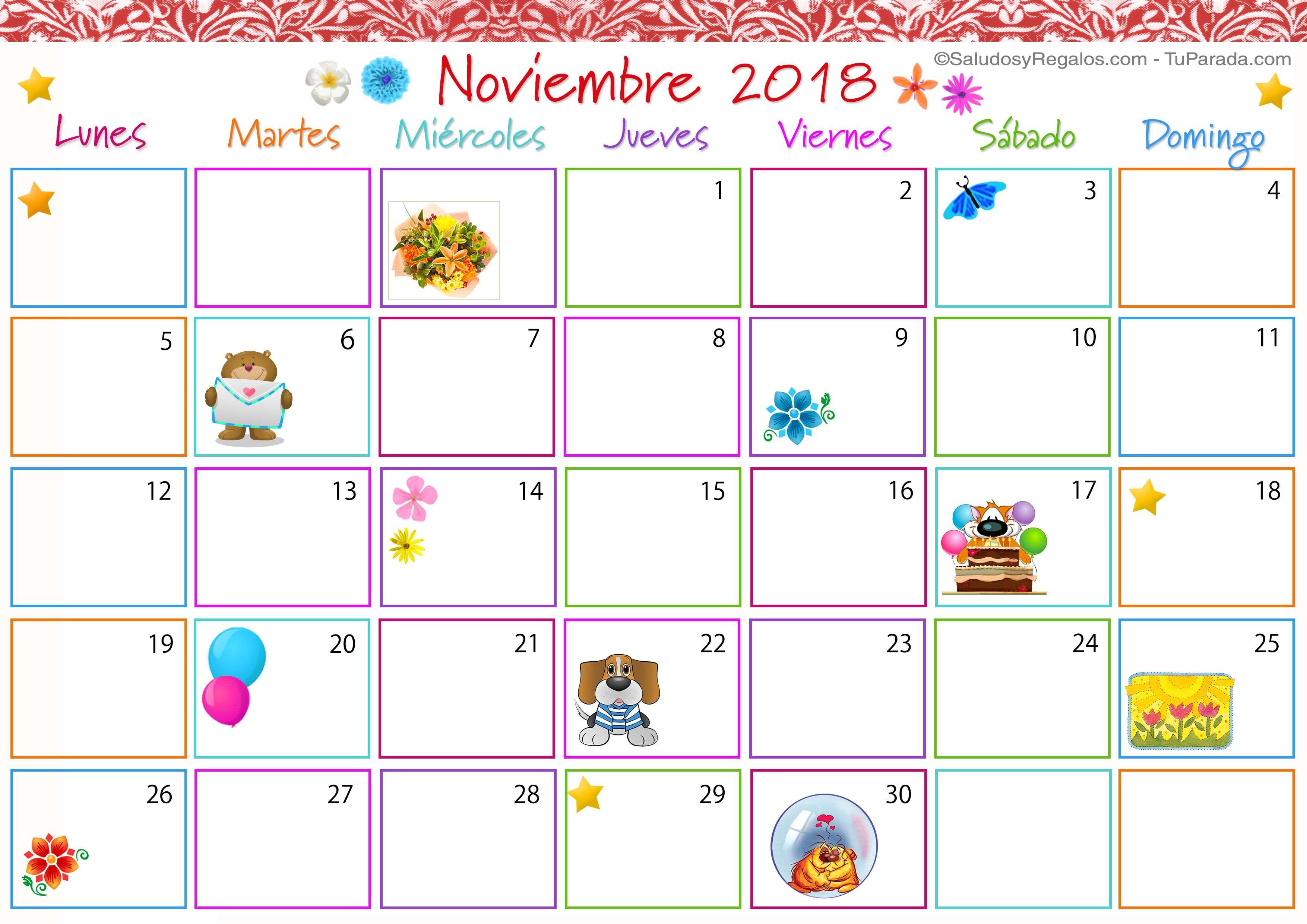 Calendario Mes De Noviembre 2018 Con Festivos Noviembre