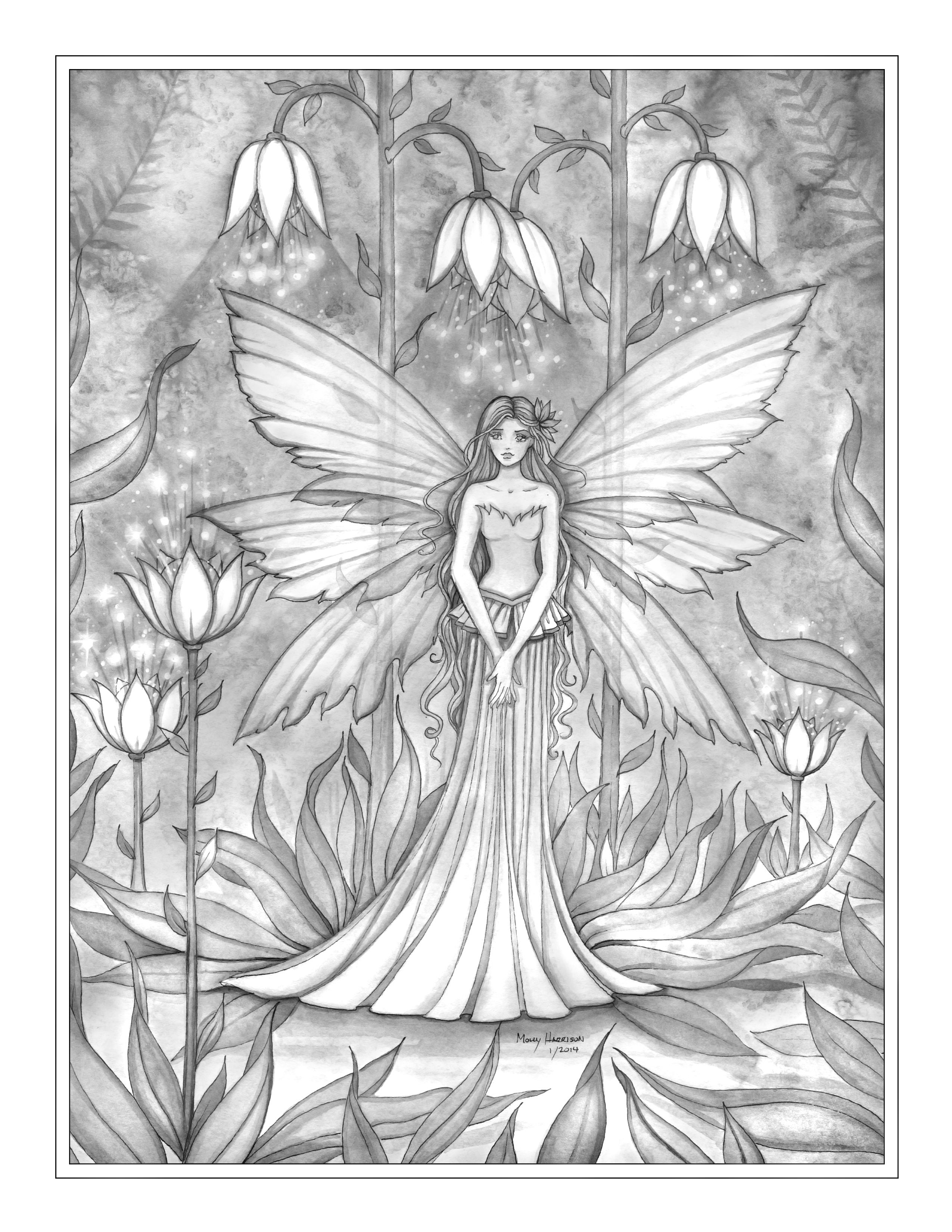 27 Jpg 2550 3300 Grayscale Coloring Fairy Coloring Fairy Art [ 3300 x 2550 Pixel ]