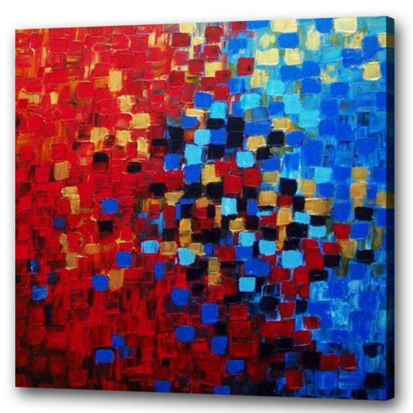 Schilderij rood blauwe stippen