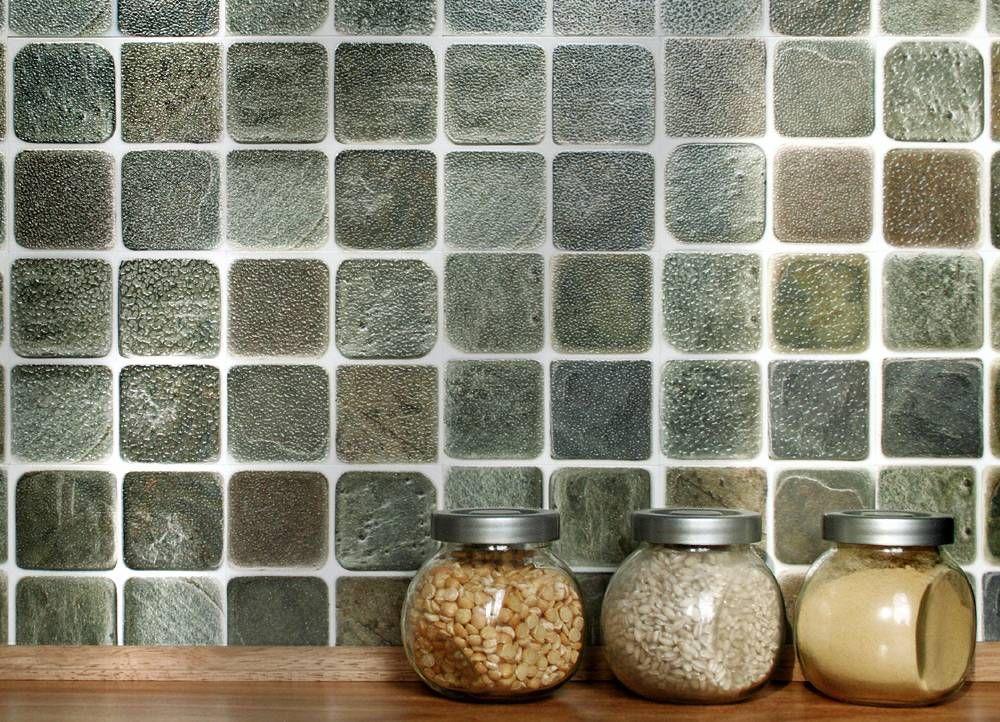 Slatestone Mosaic 4 X 4 Tiles 10cm X 10cm Self Adhesive Wall Tiles Wall Tiles Kitchen Wall Tiles