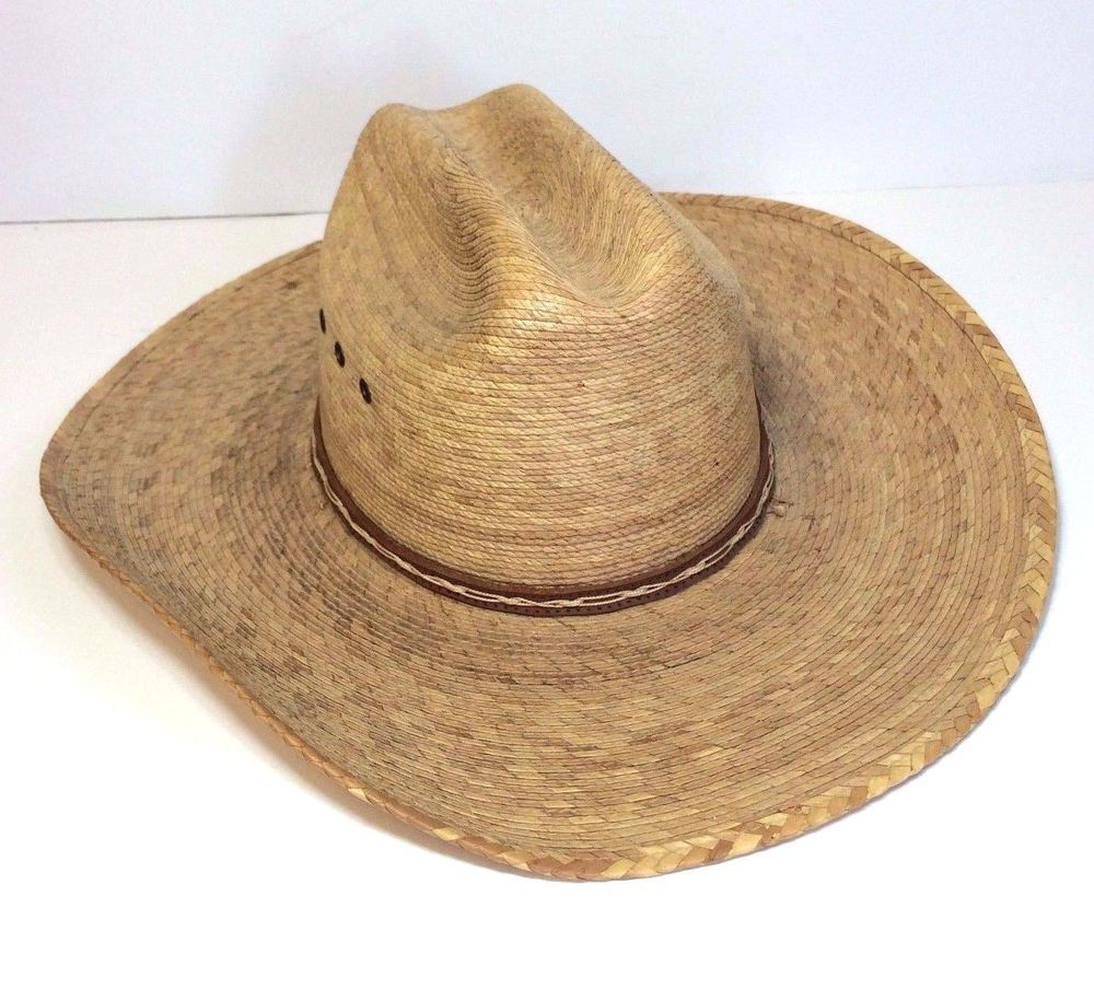 b53bcb81eb0 Atwood Marfa 4X Country Cowboy Western Palm Hat Size 6 3 4 Low Crown 4