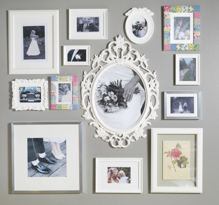 Wall Collage Frames frame your favorite wedding photos and mementos for a wall collage