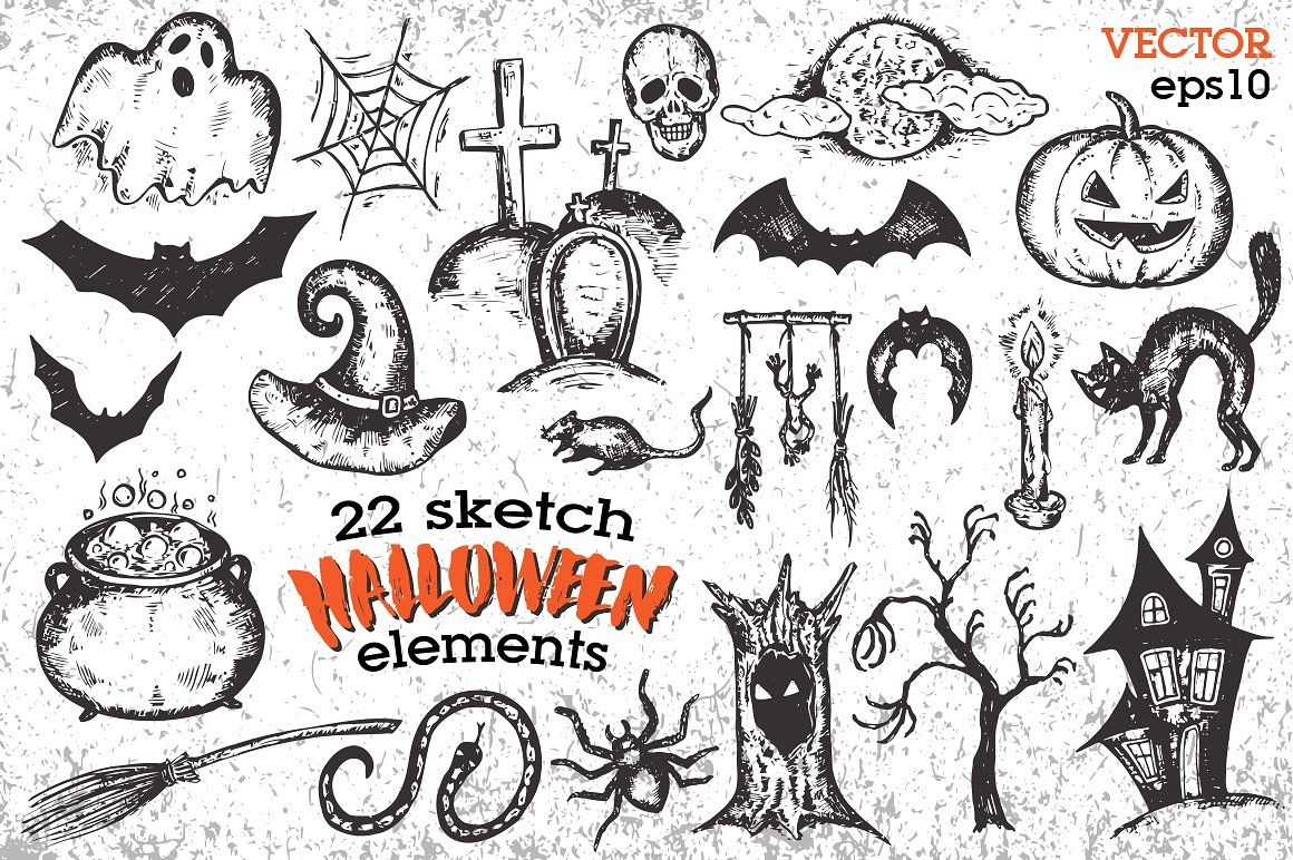 Halloween sketch collection (With images) Fancy art