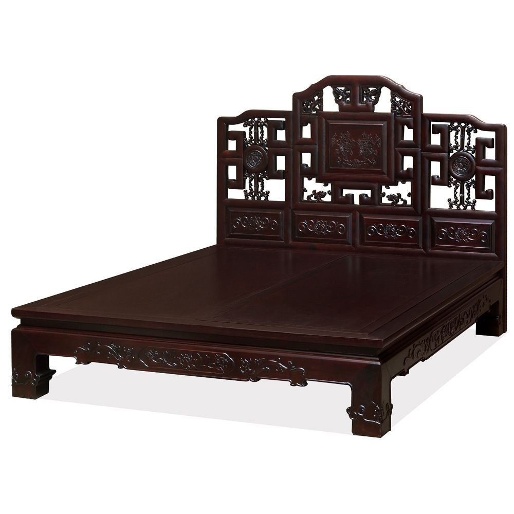 Chinese Qing Dynasty Replica Platform Elmwood Bed Asian Bedroom