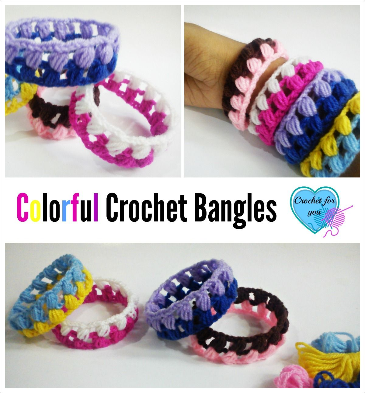 Free Colorful Crochet Bangles Pattern | Pulseras, Ganchillo y Bisutería