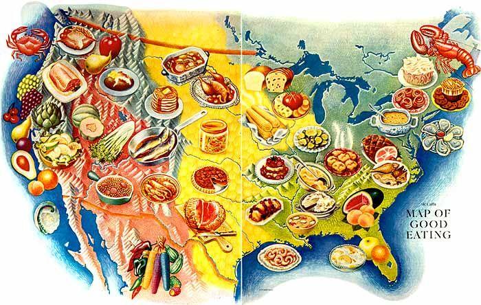 Miguel Covarrubias 1947 Map of Good Eating Carte Plan