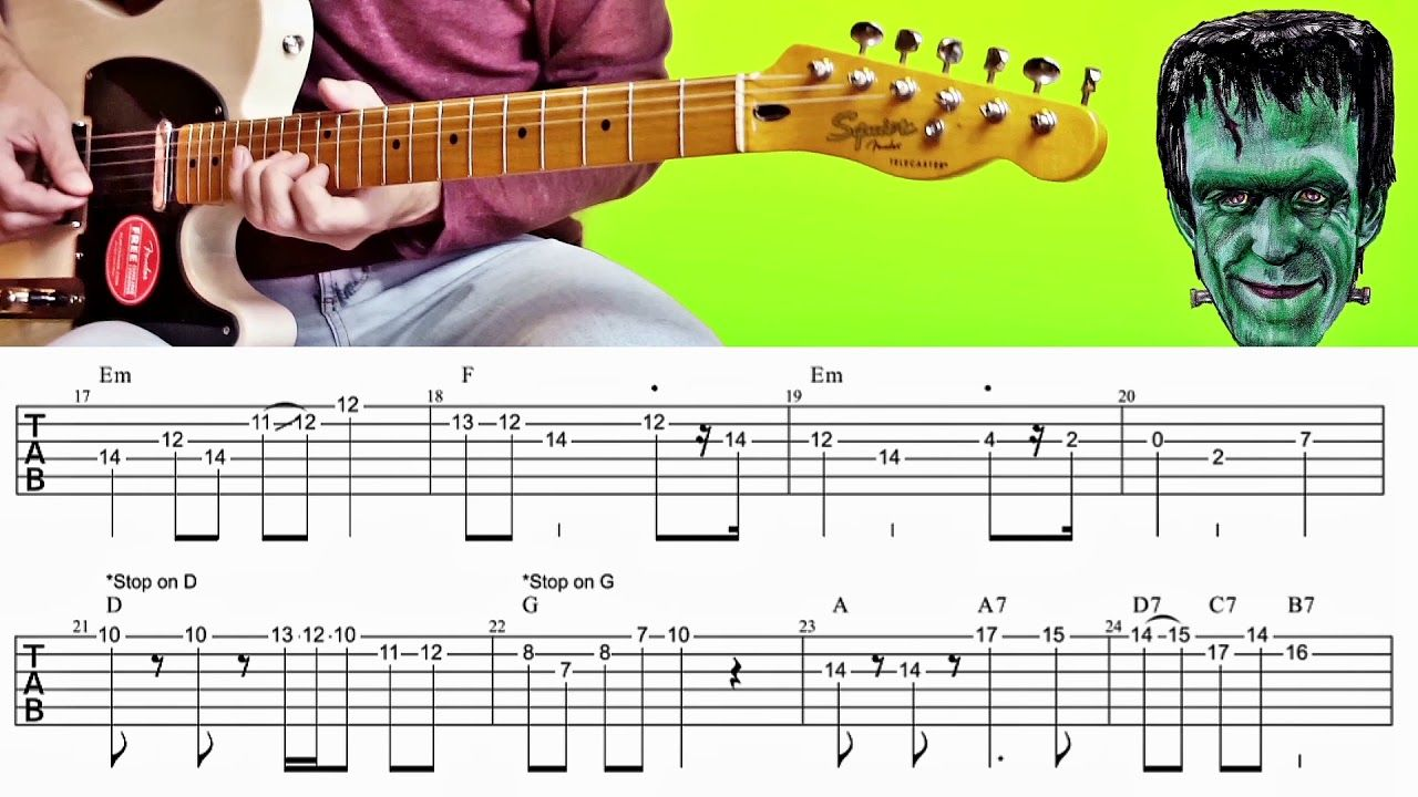 The Munsters Theme 60s For Surf Guitar Tabs Jack Marshall Lesson Surf Guitar Guitar Tabs Guitar