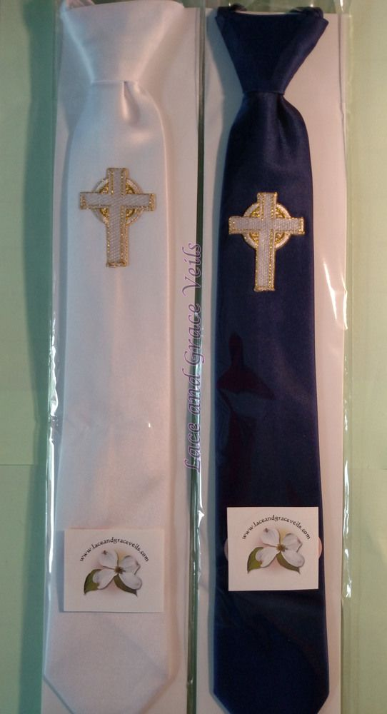378655f040bc Communion Tie - White or Navy Blue Tie with Gold Embroidered Cross, $18.00