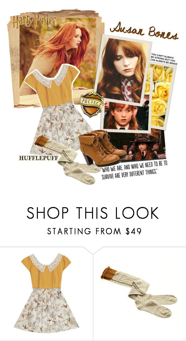 """Susan Bones (Hufflepuff) 💛🖤💛🖤"" by krgood7 ❤ liked on Polyvore featuring Populaire and FirstHufflepuffInHarry"