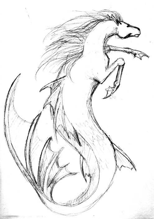 Retro Hippocampus Sketch At Elfwood Com Art Mythical Creatures Art Creature Drawings