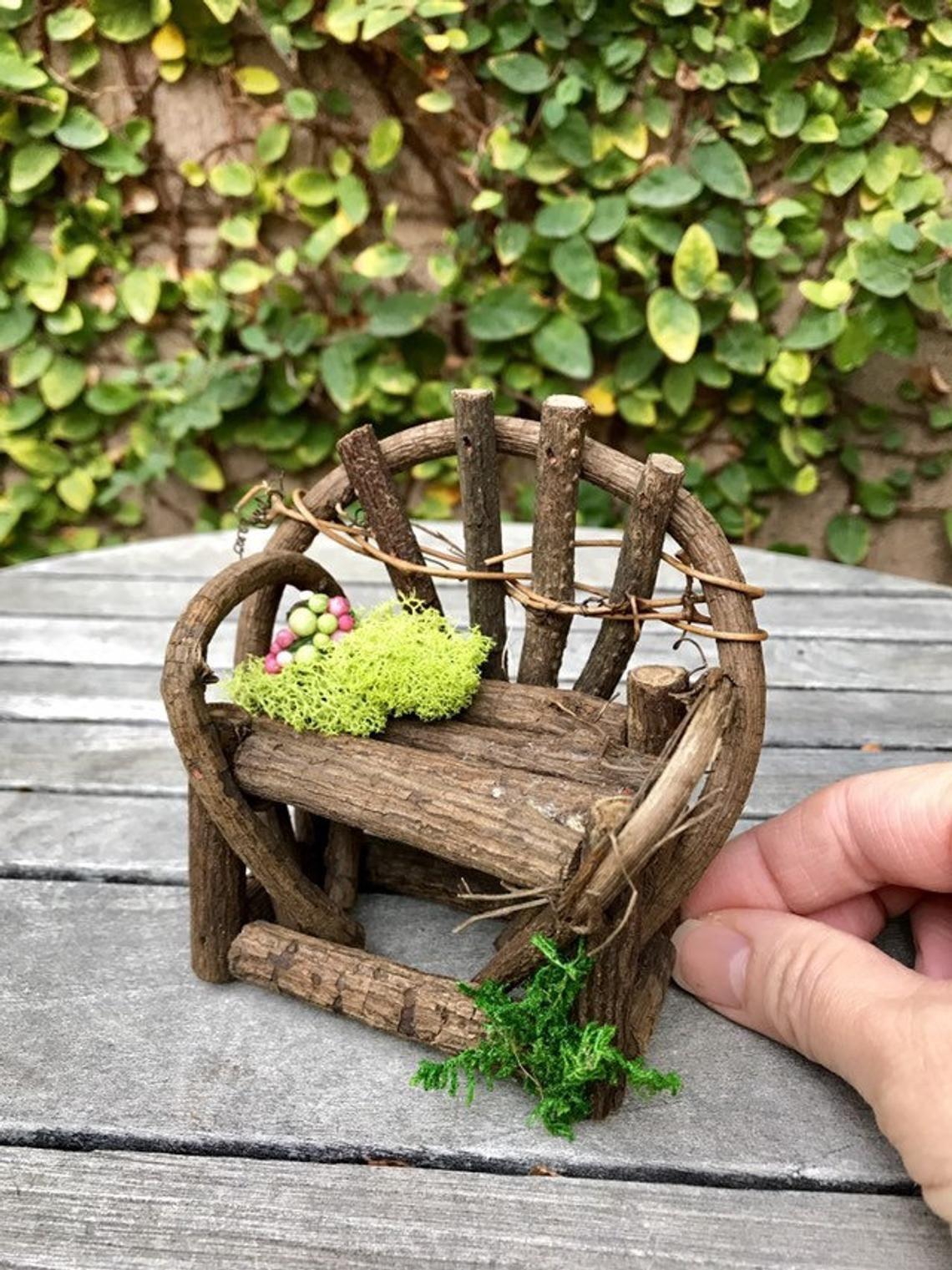 Fairy garden furniture set woodland fairy bench