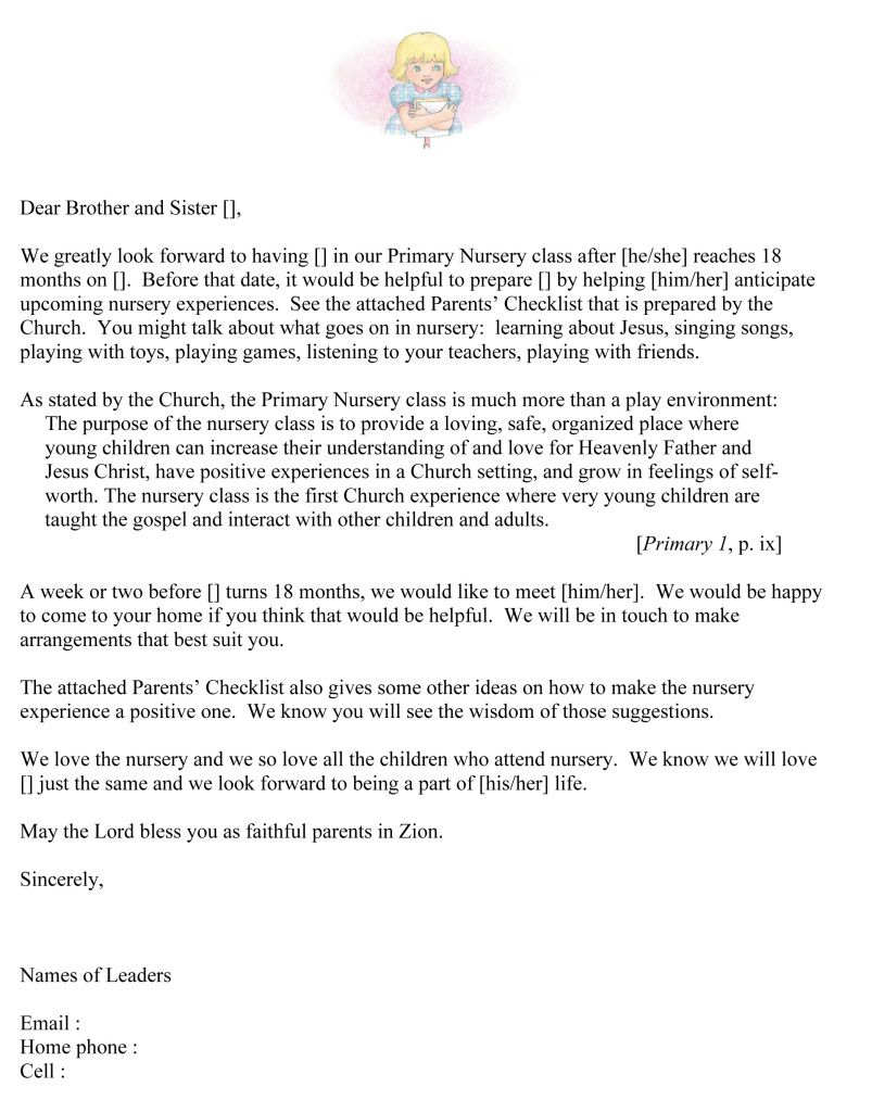 Microsoft Word Parents Letterdoc Primary Church Lds