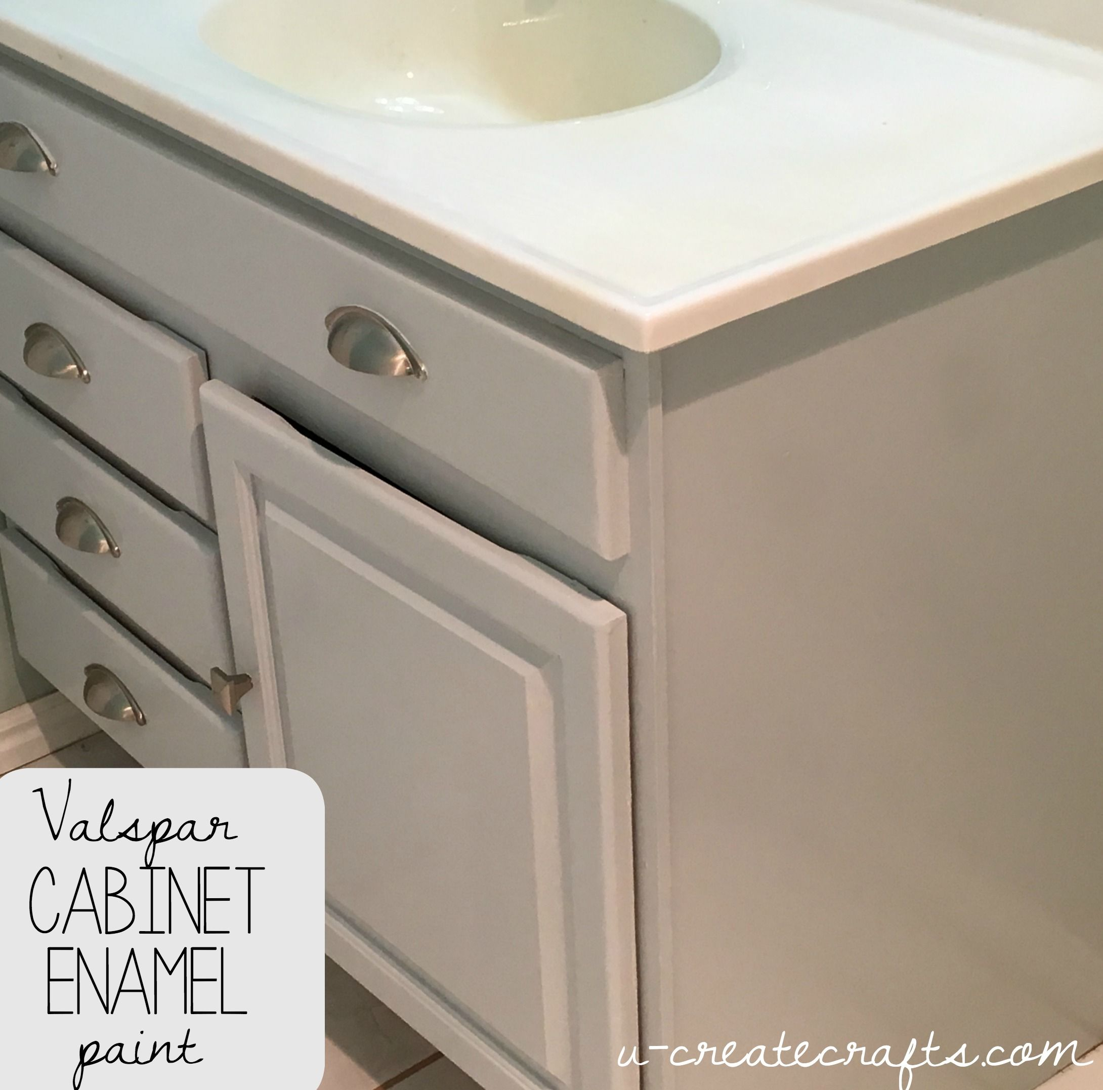 Valspar Cabinet Enamel Paint Bathroom Cabinet Makeover Painting