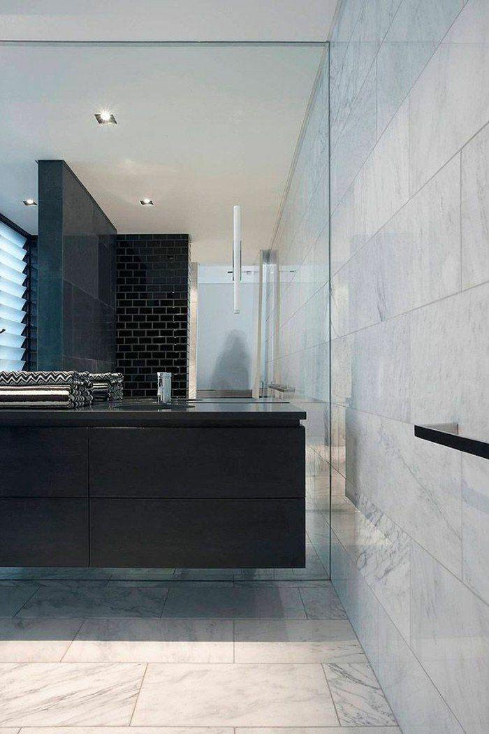 La beaut de la salle de bain noire en 44 images marbre blanc castorama e - Faience salle de bain castorama ...