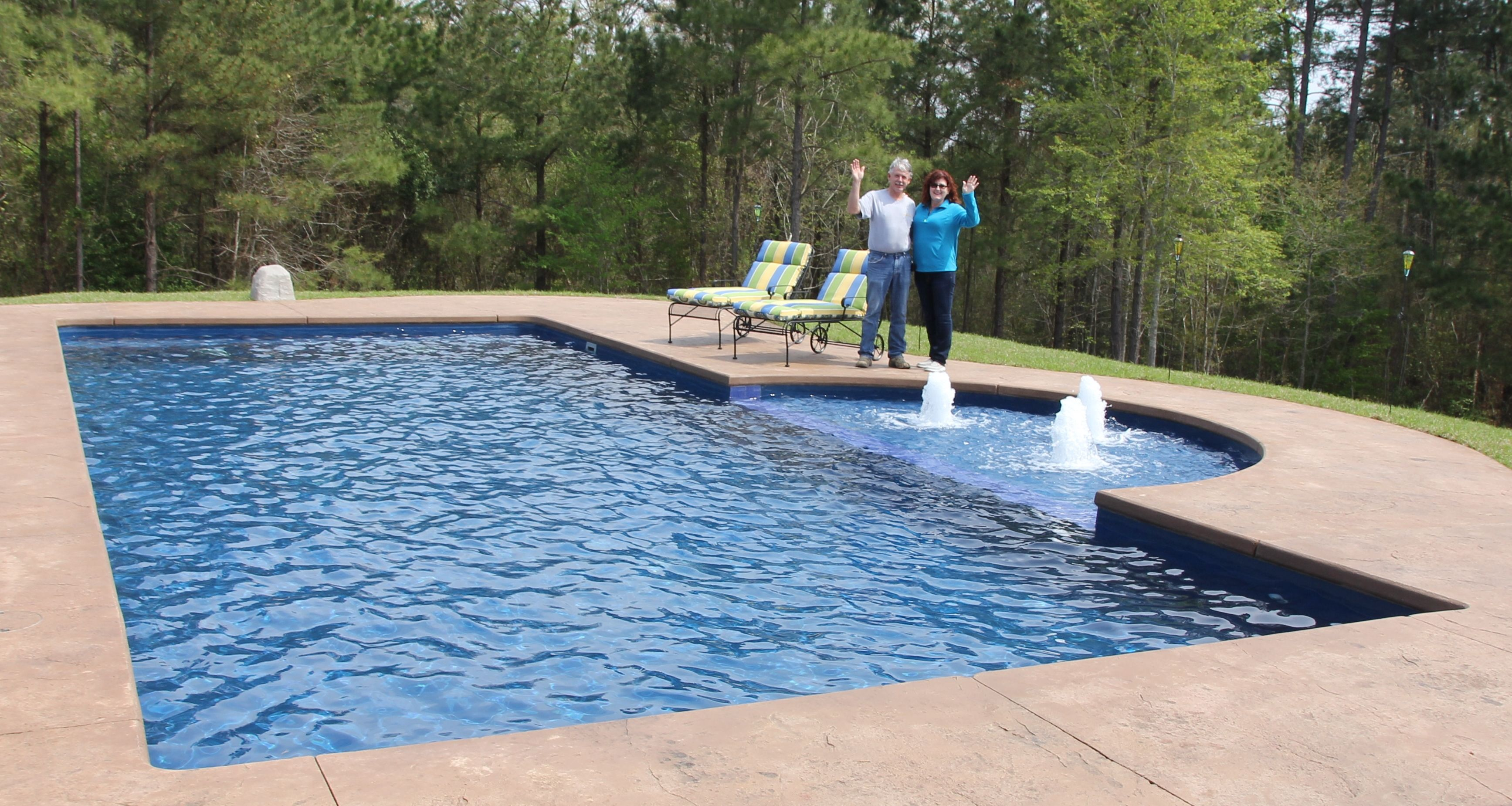 The greer family of farmerville is loving their new for Pool design with tanning ledge