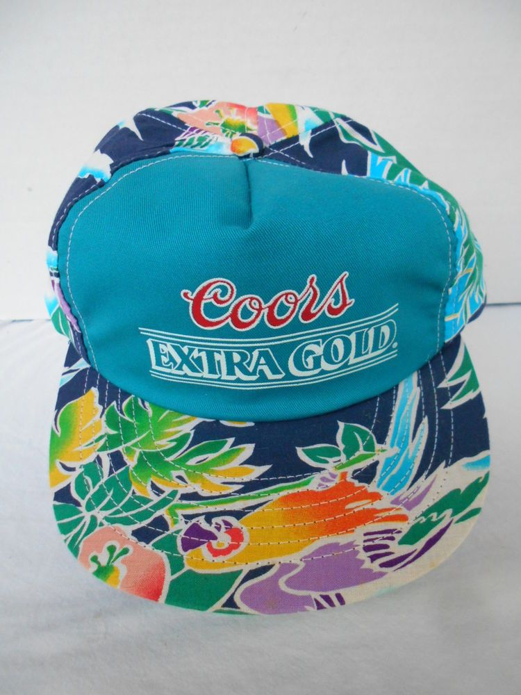 f3f221b0 Vintage Coors Light Adjustable Beach/Floral Hat Coors Extra Gold ...