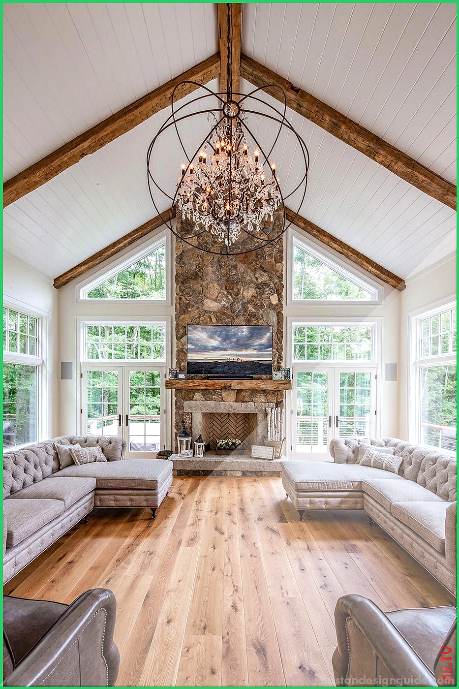 Perfect Great Room Vaulted Ceiling Exposed Beams With Beadboard