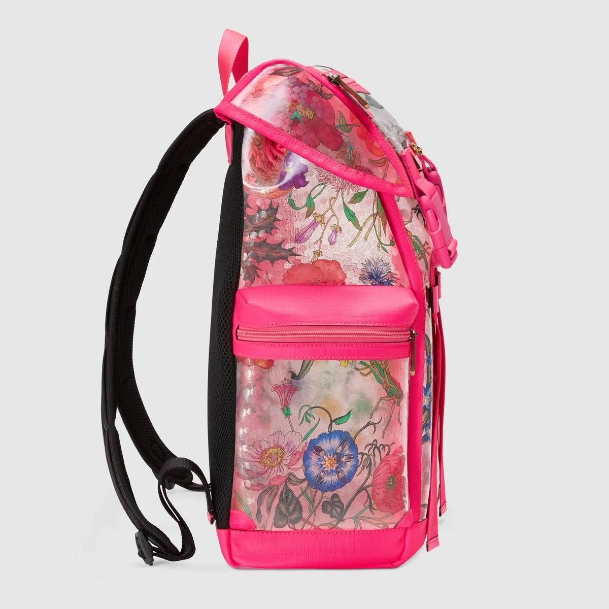 3bea5c1618b9 Shop the Flora print vinyl medium backpack by Gucci. Designed by Vittorio  Accornero over 50