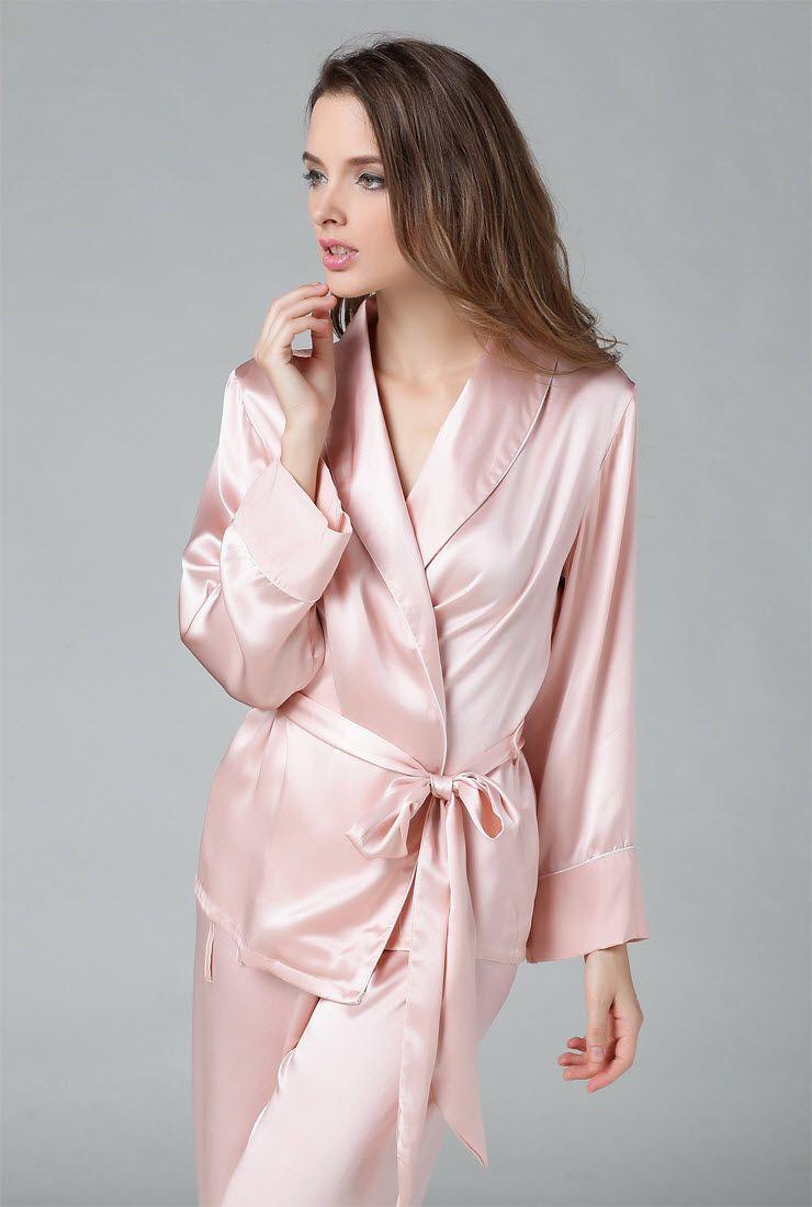Under 200 minus 30 silk 100% silk silk pajamas women's long sleeve ...