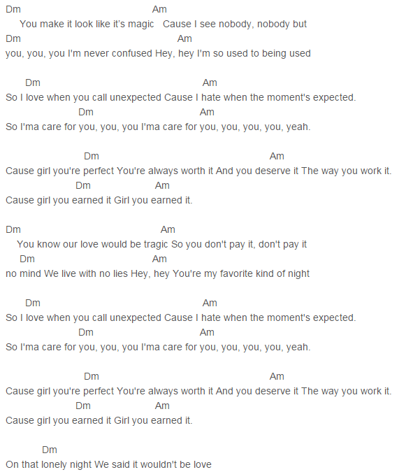 Capo 5 Earned It Chords Fifty Shades of Grey, The Weeknd
