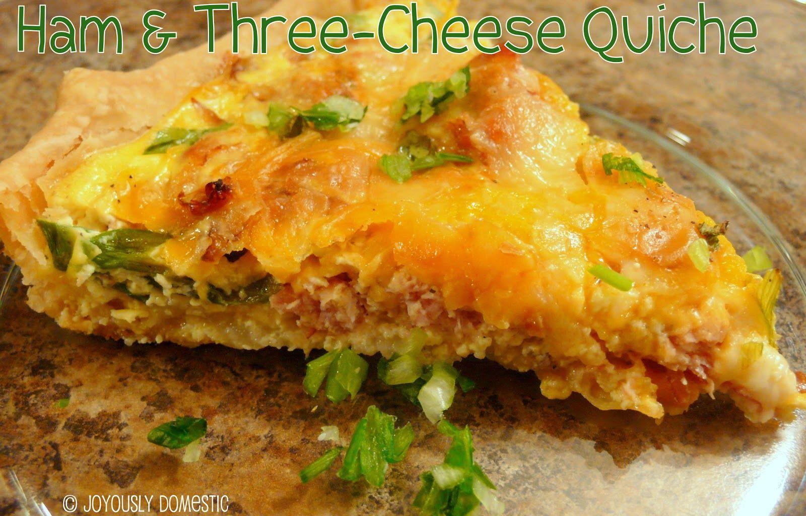 Joyously Domestic Ham And Threecheese Quiche Pork Recipes Recipes Easy Breakfast Dishes